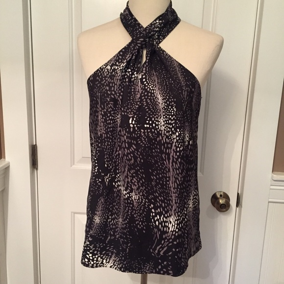 KENNETH COLE TOP BLOUSE BLACK GRAY HALTER NECK S